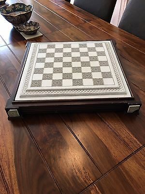 heavy chess/draughts board box in needs some TLC