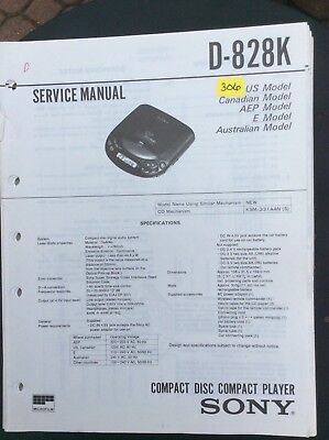 Sony D-828K  CD Player Service Manual+ 2 Supplements