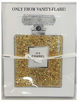 Salenew Acrylic Box Framed Chanel No. 5 Chunky Gold Glitter Pop Art Poster 11X14