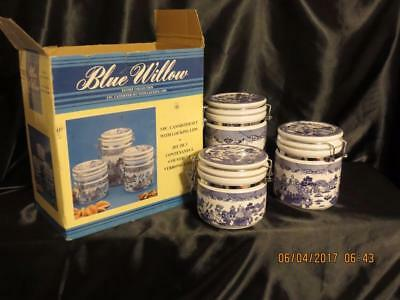 HERITAGE MINT 'Blue Willow' 3pc CANISTER SET Air-Tight Locking Lids in OB~Mint