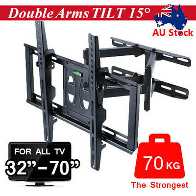 Tilt Swivel LCD LED TV Wall Mount Double Arms Strong Bracket 32-70 Inch STOCK