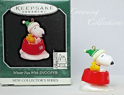 1998 Hallmark Winter Fun With Snoopy Ornament 1st Series Peanuts Dog Dish First