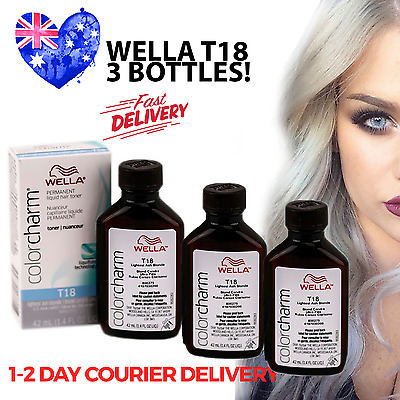 T18 *3 BOTTLES* Wella Colour Charm Hair Toner - T18 Lightest Ash Blonde