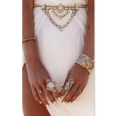 Gold Coloured Crystal Bling Rhinestone Jewel Belly Body Chain Belt Party Club