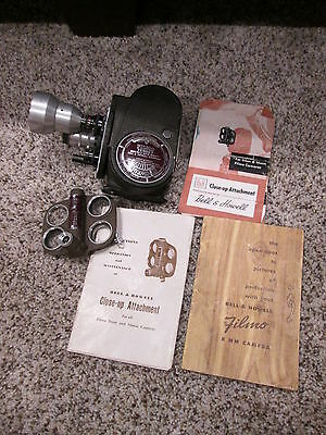 Bell & Howell Filmo Turret Double Run Eight Movie Camera w/ Close-Up Attachment