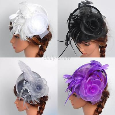 Elegent Women's Fascinator Hat Feather Head Clip Cocktail Wedding  Headpiece US