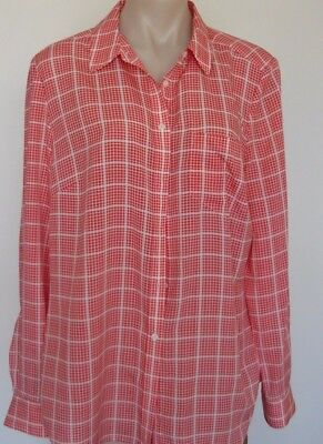 Sportscraft - Orange/white Silky Shirt - Size 16