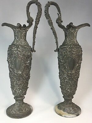 "Pair of Antique Neoclassical Pot Metal Cast Iron? Cherub Spelter 14"" Ewer Urns"