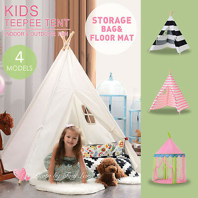 Kids Teepee Large Cotton Tents Canvas Tipi Indoor Outdoor Play House Tiny Land