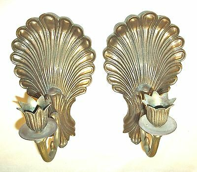 Pair of Vintage Solid Brass Candle Holder Wall Sconces - Shell Motif