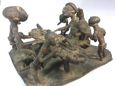 Antique cast iron figure African Miniatures Of Family Eating A Meal. Very Neat