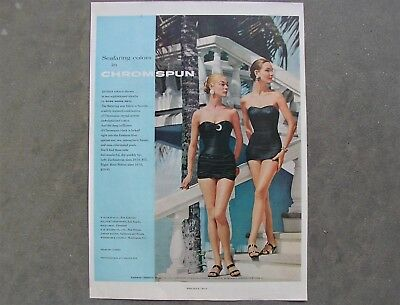 Vintage Original 1950's Print Ad - Women's Chromspun Swimsuits - Rose Marie Reid