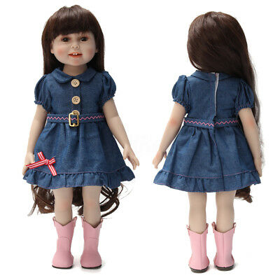 Fashion New Handmade Clothes Dress for 18 inch American Girl Dolls Party Blue