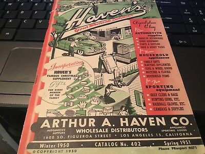 VTG 1950-1951 CATALOG~Arthur A. HAVEN'S Wholesale Distributers~AUTO~Sports~Wares