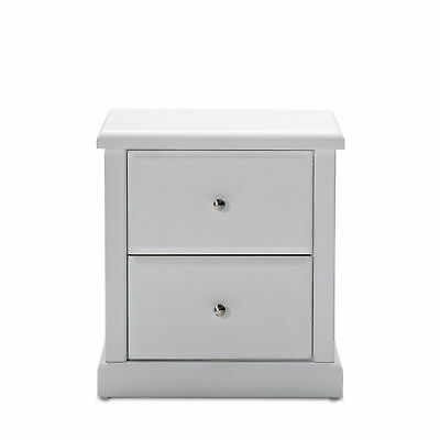 Robyn Solid Rubberwood MDF Bedside Table Nightstand with 2 Storage Drawers