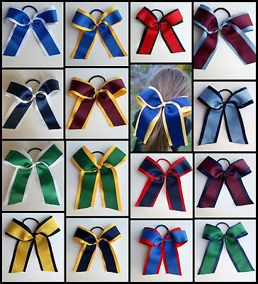 School Colour Hair Accessory Cheer Bow Large Ponytail Elastic Tie Netball Sport