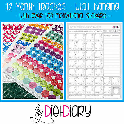 12 Month Tracker healthy eating,diet, slimming, weight loss, calendar & stickers
