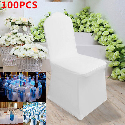 100 x White Flat Covers Spandex Lycra Chair Cover Wedding Banquet Party