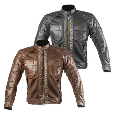 Mens Waxed Cotton Motorcycle Motorbike WP Lined textile Armour Racing CE Jackets