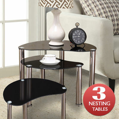 New Black Glass Oval Nest of 3 Coffee Tables Side End Table with Chrome Legs