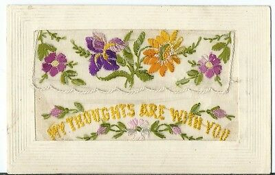 WW1 Patriotic Embroidered Silk My Thoughts are with you Flowers Ypres