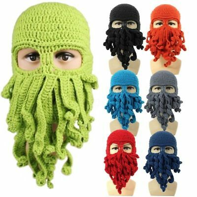 Unisex Octopus Knitted Wool Ski Face Mask Knit Hat Squid Cap Beanie Tentacle