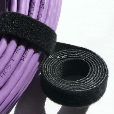Hook And Loop Tape Strap Cable Ties Fastener Black 15FT Self Adhesive Roll Wrap@