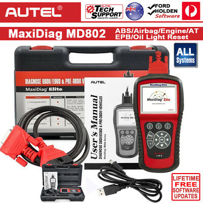 AUTEL MaxiDiag Elite MD802 ALL SYSTEMS OBDII Diagnostic Scanner Tool HOLDEN FORD