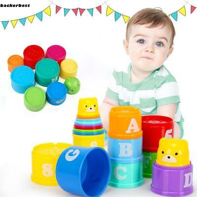 Baby Rainbow Nesting Cup Stack Up Cup Toy Educational Learning Activity Pop