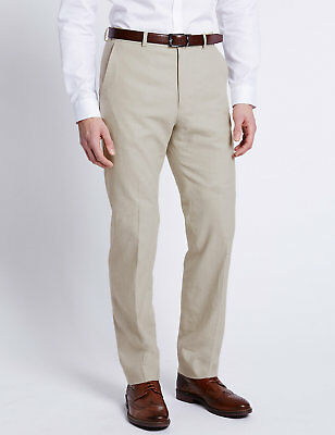 Mens Ex M&S Linen Rich Regular Fit premium Trousers  MS46