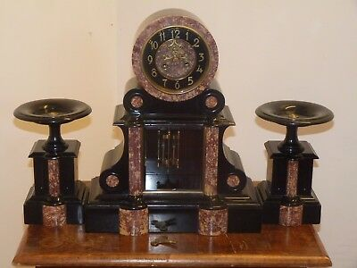 Stunning French Antique Clock Garniture Slate And Marble C1880 By Samuel Marti
