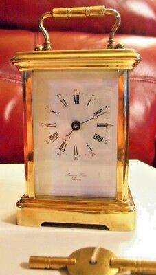 Vintage 8 Day French  Carriage Clock by Bornand Freres in Mechanical Key Wound