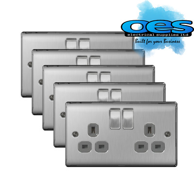 5 x BG Nexus NBS22G Brushed Steel/Satin Chrome 13Amp Double Plug Socket 2 Gang