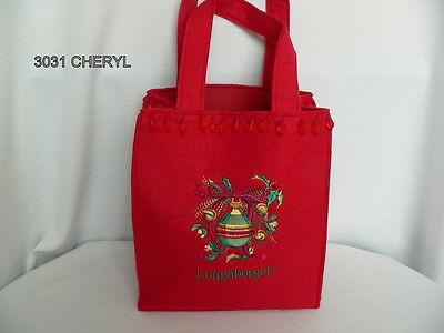Longaberger Red Felt Embroidered Tote Purse - New