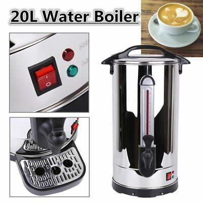 20 Litre Commercial Coffee Tea Urn Stainless Steel Catering Hot Water Boiler 20L