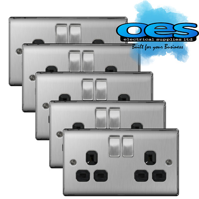5 x BG Nexus NBS22B Brushed Steel/Satin Chrome 13Amp Double Plug Socket 2 Gang