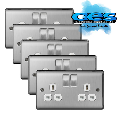 5 x BG Nexus NBS22W Brushed Steel/Satin Chrome 13Amp Double Plug Socket 2 Gang