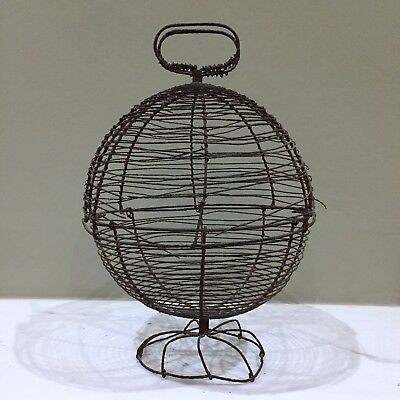 ANTIQUE wire-work snail basket - SCULPTURAL and RARE - French
