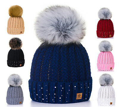 Unisex Kids Children Knitted Beanie Hat Hats Cap Winter Worm Girls Boys Bubble P