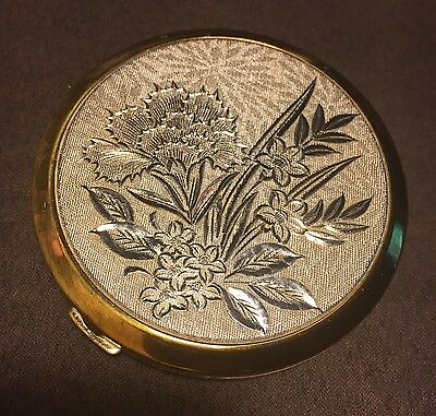 Pretty Vintage Powder Make Up Compact Embroidered Flowers Floral Slip Cover