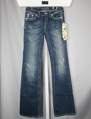 New Girls Miss Me Blue Denim Bootcut Distressed Jeans - size 14