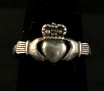 Vintage Irish Celtic Claddagh Heart Band Ring Sterling Silver 925 Size 5
