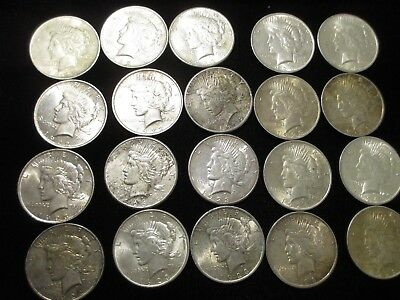 Mixed Date Roll 90% Silver Peace Dollars (20 Coins) Xf/au