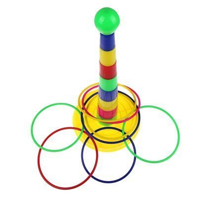 Colorful Hoopla Ring Toss Cast Circle Sets Educational Toy Puzzle Game Kids O1Q6