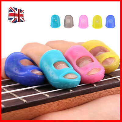 New 4X Silicone Guitar Fingertip Protectors Finger Guards for Thumb Bass Ukulele