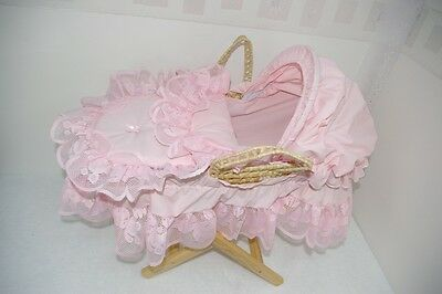 Pink Teddy Lace Dolls Moses Basket And Pine Stand