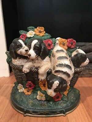 Vintage Dog Cast Iron Door Stop with 4 Puppies in Basket with Flowers