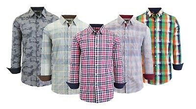 Men's Long Sleeve Button Down Slim Fit Casual & Dress Shirt Printed Design