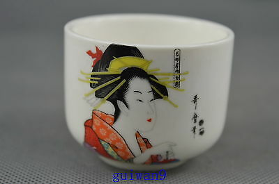 Collectible Porcelain Painting Classical Belle Lucky Unique Elegant Special Cup