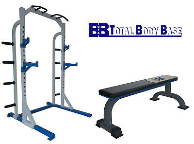 Heavy Duty Half Power Rack Squat Stand with Flat Weights Bench Home Fitness Gym